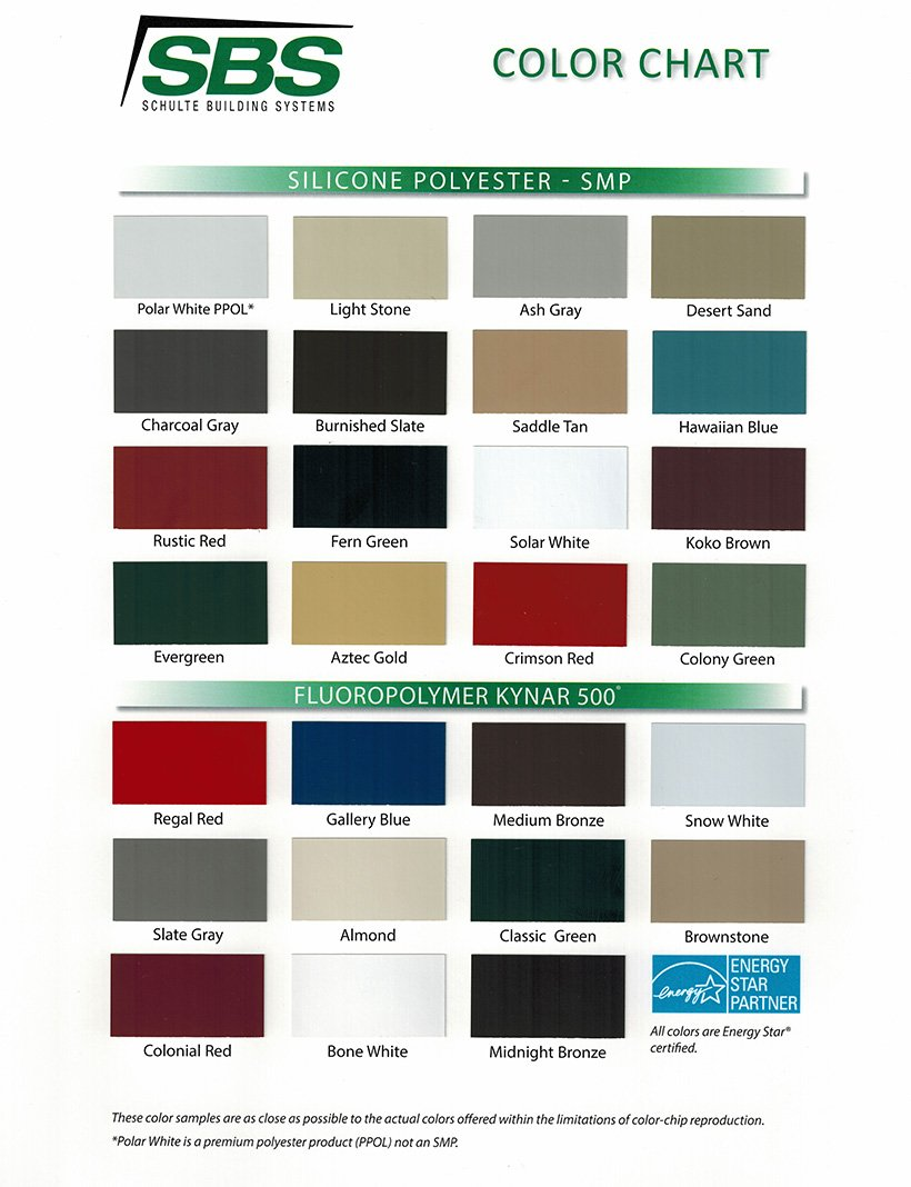 Sbs Buildings Color Chart 2017