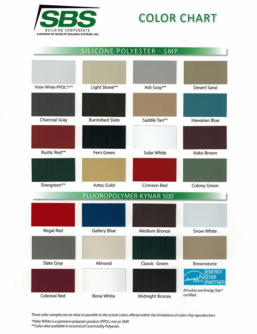 SBS Components Color Chart 2015