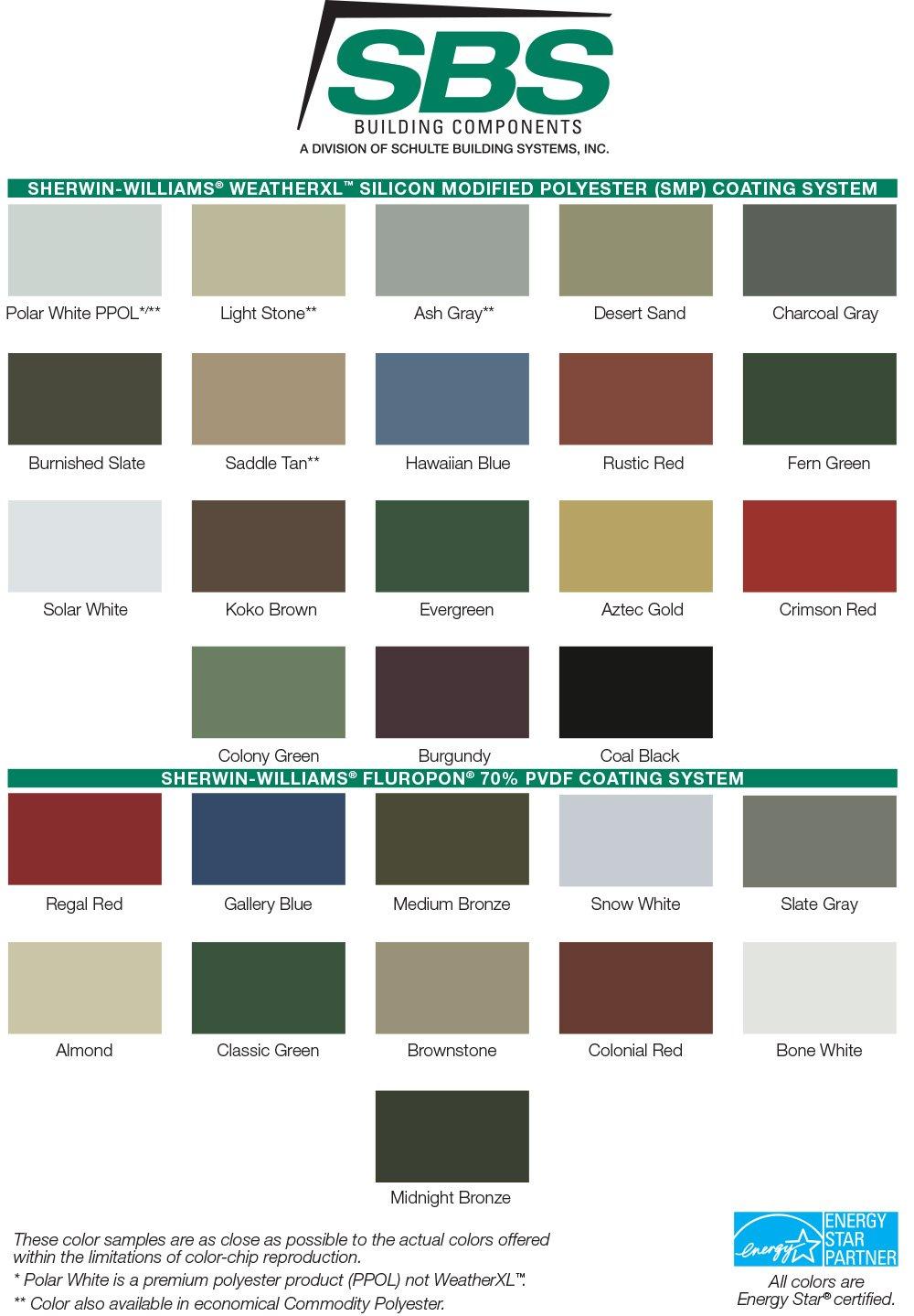 SBS Building Components Color Chart 2020